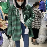 fashionable skirt suits 2021 - YOSICIL Fashionable Plaid women's suit two piece Office women's long sleeve short skirt suit Autumn single button 2021 new