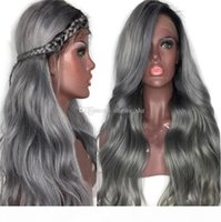 ingrosso le migliori parrucche piene del merletto di ombre-Best Selling 130% Density Ombre 1b Grey Human Hair Wigs Silver Grey Lace Front Wig Brazilian Full Lace Wigs With Dark Roots