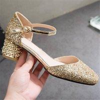 Wholesale sandals golden resale online - ZETMTC pink golden silver fashion summer ladies prom shoes buckle thick heel elegant bling women high heels sandals big size