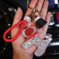 Wholesale talking dogs resale online - Fashion Diamond Crystal Cartoon Dog Keychain Knit Leather Chain Key Rings Charm Bag Auto Pendant Women Girl Keyring Gift