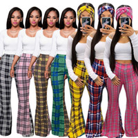 Fashion Clothing Classic Plaid Print Palazzo Flare Casual Women Flared Summer Pants Tight The New Listing DT2V