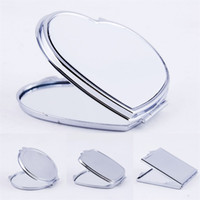 DIY Makeup Mirrors Iron 2 Face Sublimation Blank Plated Aluminum Sheet Girl Gift Cosmetic Compact Mirror Portable Decoration 3 2x M2