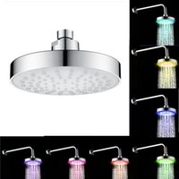 Hot Round 6 Inch Stainless Steel Bathroom RGB LED Lamp Shower Head Temperature Sensor Rainfall Shower Head With Color Cha