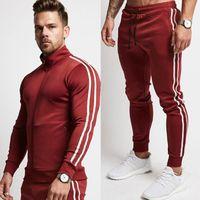Mens Running Sportswear Sweatshirt Sweatpants Trousers Gym Fitness Training Jackets Pants 2pcs Sets Male Joggers Sports Clothing