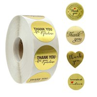 500pcs Thank You for Supporting My Business Kraft Stickers with Gold Foil Round Labels Sticker for Small Shop Handmade Sticker (Golden)