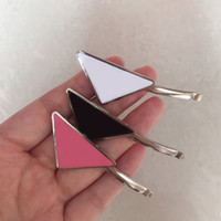 Hot Metal Triangle Hair Clip with Stamp Women Girl Triangle Letter Barrettes Fashion Hair Accessories High Quality