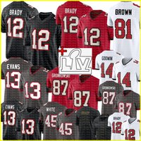 #12 Tom Brady Jersey Rob Gronkowski Mike Evans Jersey Chris Godwin Devin White Leonard Fournette Ronald Jones II Football Jerseys 87 13