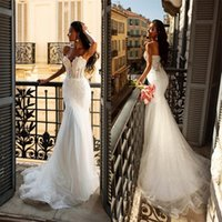 Wholesale strapless lace beach wedding dresses resale online - Sexy Mermaid Wedding Dresses Custom Made Strapless Sleeveless Appliqued Lace Cheap Bridal Gown Backless Sweep Train Beach Robes De Mariée