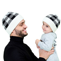 Wholesale sports hats kids resale online - Parent child Beanie Winter Warm Adult Kid Knitted Cap Outdoor Sports Knitting Plaid Woolen Hat Festive Party Hats LJJP801