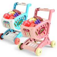 Wholesale toy carts resale online - shopping cart simulation supermarket toy trolley cut fruit vegetables gifts miniatur food kitchen pretend play toys cooking LJ201009