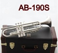 High-quality Bach American AB-190S Trumpet Silver Plated Gold Trumpete Professional Musical Instruments with Beautiful Case free shipping