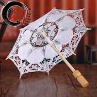 Wholesale iron lace flowers resale online - Lace Wedding Bride Umbrellas White Embroidered Flower Cotton Props Umbrella For Photography photo Tools Household Sundries HH9