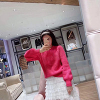 Autumn and winter fast hand web celebrity with the same alphabet knitting sweater long sleeves thickened warm pullover sweater bubble sleeve