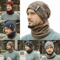 Wholesale beanies for mens resale online - Winter designers caps hats mens Neck warmer scarf caps unisex thicken Beanies Hats For men women knitted Fleece ski motorcycle Hat