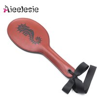 Wholesale spanking sex games resale online - 38CM PU Leather Spanking Paddle Couple Flirting whip Slave Adults SM Games Bdsm Bondage Flogger Sex toys for women Accessories Q1126