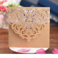 Wholesale cards birthday printable for sale - Group buy Laser Cut Lace Wedding Party Invitations Cards with Printable Paper for Engagement Wedding Marriage Birthday greeting