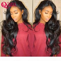 sexy peluca de encaje de pelo al por mayor-Body Wave Wigs with baby hair Glueless Brazilian Virgin Hair Hot Sexy Lace Frontal Wigs for Young Women
