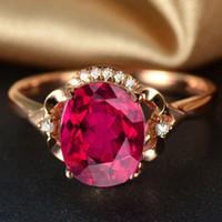 Wholesale ruby roses resale online - 925 Sterling Joycejelly Silver Set Ruby Ring Earrings Necklace Bracelets Rose Gold Women Wedding Jewelry ZFSK