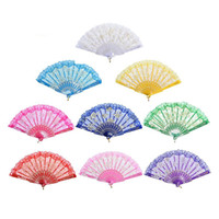 Discount china fan dance Lace Dance Fan Fashion Gift Rose Flower Design Plastic Frame Bronzing Silk Decoration Chinese Craft Folding Fans Holiday Gifts