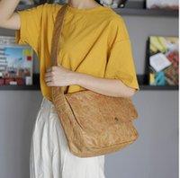 Wholesale women postman bags resale online - Kraft Paper Women Crossbody Bag Designer Briefcase Men Vintage Messenger Bags Postman Large Shoulder Crossbody Bag Handbags
