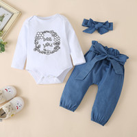 Wholesale stylish baby clothes for sale - Group buy Baby Letter Rompers Bow Trousers Outfits Fall Children Boutique Clothing T Toddler Cotton PC Set Stylish Baby Clothes