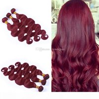 Wholesale 99j human hair weave wavy for sale - Group buy New Arrival Pure Color Burgundy Body Wave Hair Bundles Peruvian Human Hair Wine Red J Wavy Hair Weaves Extenaions