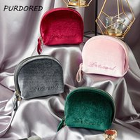vintage make-up-box groihandel-Purdored 1 PC Vintage Samt Stickerei Kosmetische Frauen Reißverschluss Make-up Tasche Feste Farbe Weibliche Weiche Make-up Beauty Case