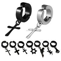 Wholesale clips earings resale online - Clip on Jesus cross star earrings stainless steel hoop earrings women men earings fashion jewelry will and sandy jewelry