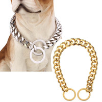 Wholesale dog cooling collar resale online - Stainless Steel Training Dog Collar mm Slip Choke Chain for Dog Collar Cool Best for Large Dogs Pitbull Doberman Bulldog Q1122
