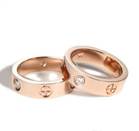 2021 Titanium Stainless Steel Rings for Women Men jewelry Couples Cubic Zirconia Gold Silver Rose gold Rings with red bag 4mm 6mm