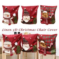 Wholesale home decor drop ship for sale - Group buy 3D Christmas Chair Cover Home Dining Room Decor Party Reindeer Santa Snowman Drop Shipping