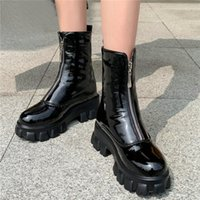 Wholesale zip ride for sale - Group buy New Goth Sneakers Women Patent Leather High Heel Front Zip Riding Boots High Top Platform Oxfords Round Toe Party Pumps