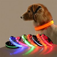 Wholesale led s lights resale online - LED Nylon Pet Dog Collar Dog Night Safety LED Light Flashing Anti Lost Car Accident Avoid Collar S XL Luminous Pet Collars EWA2645