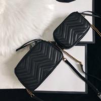Wholesale cowhide handbag leather shoulder bag chain purse fashion wave chain purse presbyopic card holder evening bag messenger women