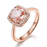 Wholesale morganite rings for sale - Group buy Natural Square Morganite Ring For Women K Rose Gold Color Diamond Ring Gemstone Engagement Wedding Rings Valentine s Day Gift