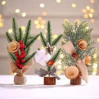 Wholesale tabletop christmas decorations resale online - Creative Mini Christmas Tree Decoration Small Tree Decoration Tabletop Atmosphere Decoration Simulation Christmas Tree Gift EWD3207