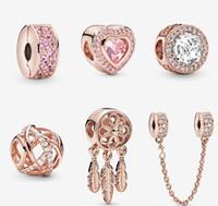 S925 Sterling silver jewelry Diy Beads Fits European Original Bracelets Style rose gold women Bracelet&Collier Charm