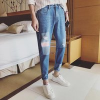 boys patched jeans 2021 - Wholesale 2020 Fashion street hip hop Ripped jeans men's pants 2021 summer new Korean boys hot selling printed patch jeans men