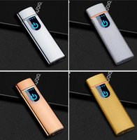 Wholesale rechargeable flameless lighters resale online - Lighters Windproof Electronic Cigarette Lighters Flameless LED Touch Screen Switch Lighters Portable Colorful USB Rechargeable Gift OWC4079
