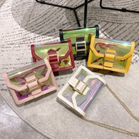 Wholesale coolest new phones resale online - female bag laser colorful cool sequined square bag summer korean version new personality pin buckle chain bag