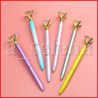 Wholesale kawaii diamond for sale - Group buy Creative Crystal Glass Kawaii Ballpoint Pen Big Gem Ball Pen With Large Diamond Colors Fashion School Office