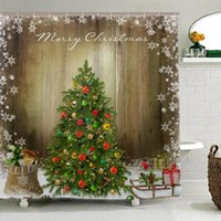 Wholesale tree shower curtain fabric resale online - Christmas Snow Tree Shower Curtain Vintage Style Merry Christmas Decor Polyester Fabric Waterproof Bathroom Curtains with Hooks