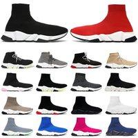 Wholesale 2021 sock shoes men women speed trainer high low top sneakers triple black white red clearsole Yellow Fluo mens casual shoe Jogging Walking