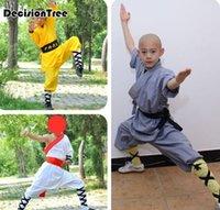 Wholesale kicking martial arts for sale - Group buy 2020 Kids Men Boys Kick Boxing Uniforms Shaolin Martial Arts Sets Chinese Kungfu Traditional Wushu Suits Performance Customes