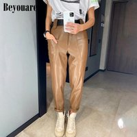 Beyouare Vintage PU Faux Leather Women Trousers High Waist Big Pockets Straight Wide Legs Pants 2020 Autumn Elegant Lady Pants