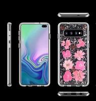 Wholesale flower case bling online – custom Bling Foil Confetti Flake Real Flower Case For Iphone Pro XR XS MAX X Galaxy S10 S10e S9 Hard PC TPU Glitter Cover Shell Fashion