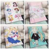 Wholesale new moon bedding resale online - Sailor Moon Cat Anime Customized Blanket Plush Velvet Warm Decoration Bed Home Throw Sofa Blankets Unisex Gifts NEW