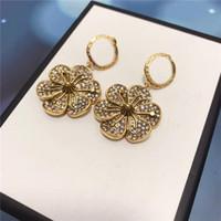 Trendy Flowers Earrings Full Diamond Charm Earrings Brand Letters Studs Women Earrings Jewelry Rhinestone Designer Pendant Earring Gift