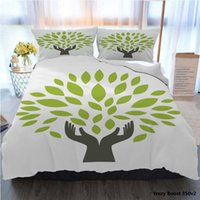 Wholesale leaf bedding sets resale online - 3pcs Bedding Cotton Set Super King Duvet Cover Set Green Leaf Human Hand Vector Illustration Bed Cover With Pillowcase