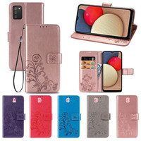Imprint Lucky Clover Wallet Leather Case For Samsung A02S A12 A32 5G S21 PLUS S21 Ultra Huawei Honor 10X Lite Strap Stand Phone Cover Luxury
